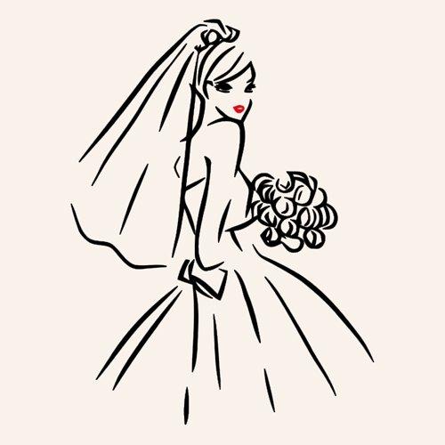 icona sposa con fiori in mano